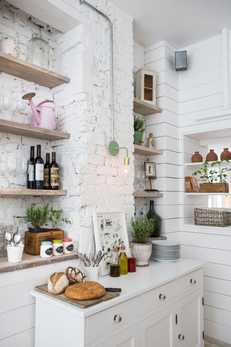 shiplap and shelving | restaurant decor | Pinterest | Exposed brick ...