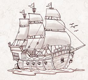 Pirate Ship A Sketch For A How To Draw Book Dibujo Barco Pirata Dibujo De Barco Barco Pirata