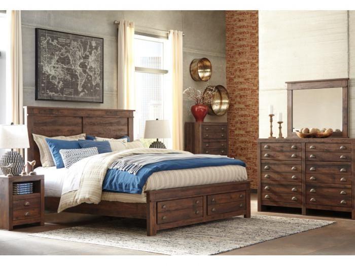 MB116 Rustic Queen Storage Bed, Dresser, Mirror & Nightstand,Taft