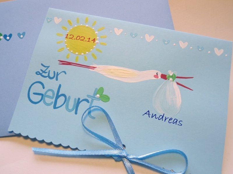 """Babykarte """"Storch"""" (blau) von Pinselstübchen auf DaWanda.com"""