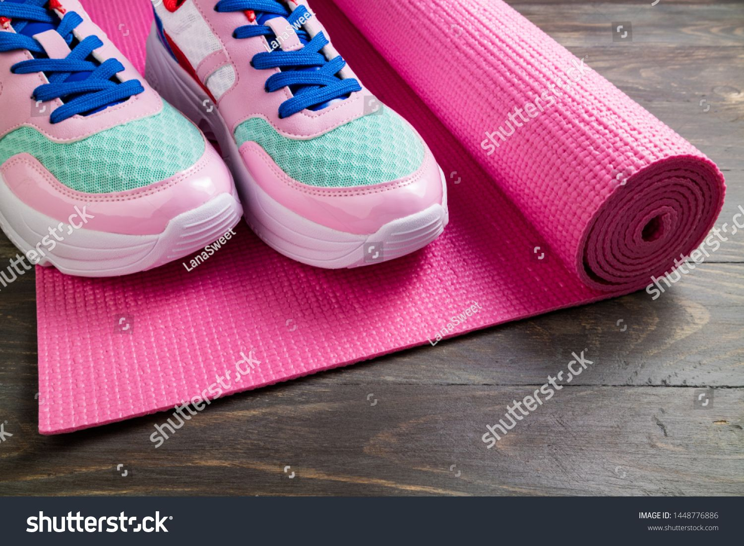 Download Pink Yoga Mat Sport Shoes Royalty Free Image Photo Sport Shoes Sports Equipment Air Max Sneakers