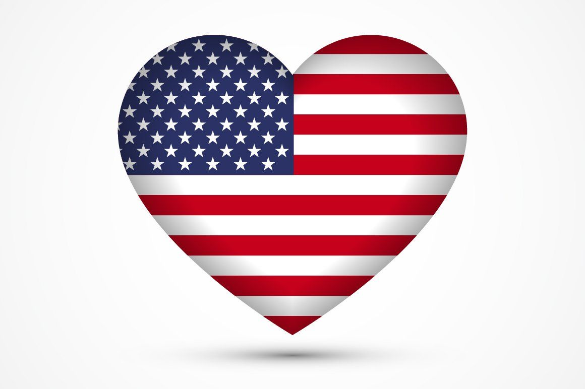 Heart shape symbol | American flag, American flag sticker ...