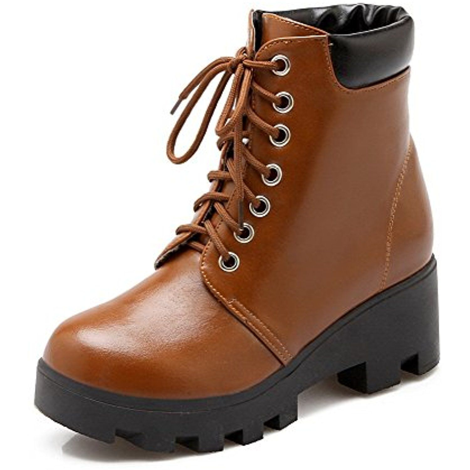 Women's Assorted Color Kitten-Heels Round Closed Toe PU Lace-up Boots