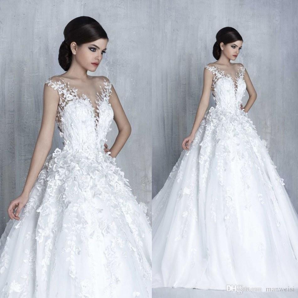 Tony Chaaya 2017 Princess Wedding Dresses 3D-Floral Appliques Lace ...