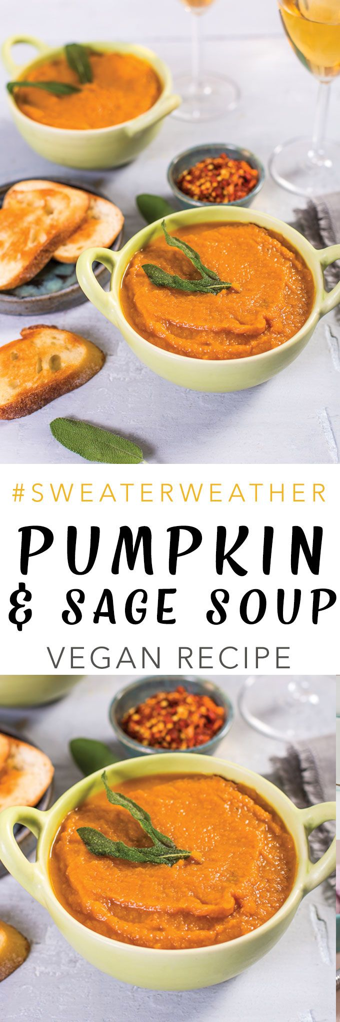 A lovely and hearty pumpkin sage soup to warm you from the inside out. Pumpkin soup made with carrots, potatoes, sage and garlic. This #SweaterWeather Pumpkin Sage Soup is my...
