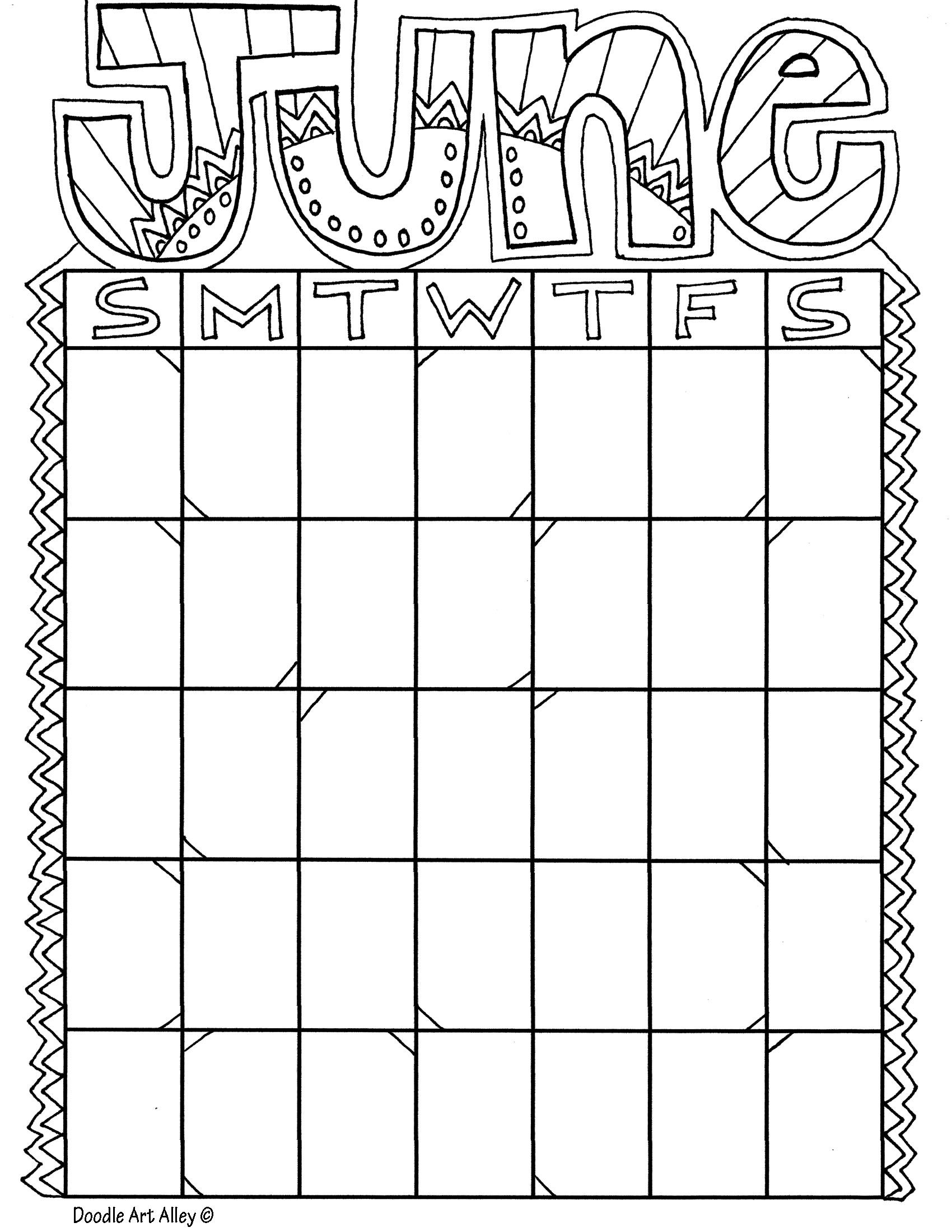 Calendars Coloring Pages Kids Calendar Coloring Calendar