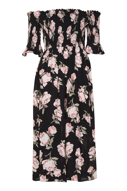 3ff082476ab1 Carousel Image 0 Floral Bardot Dress, Floral Midi Dress, Black Midi Dress,  Floral