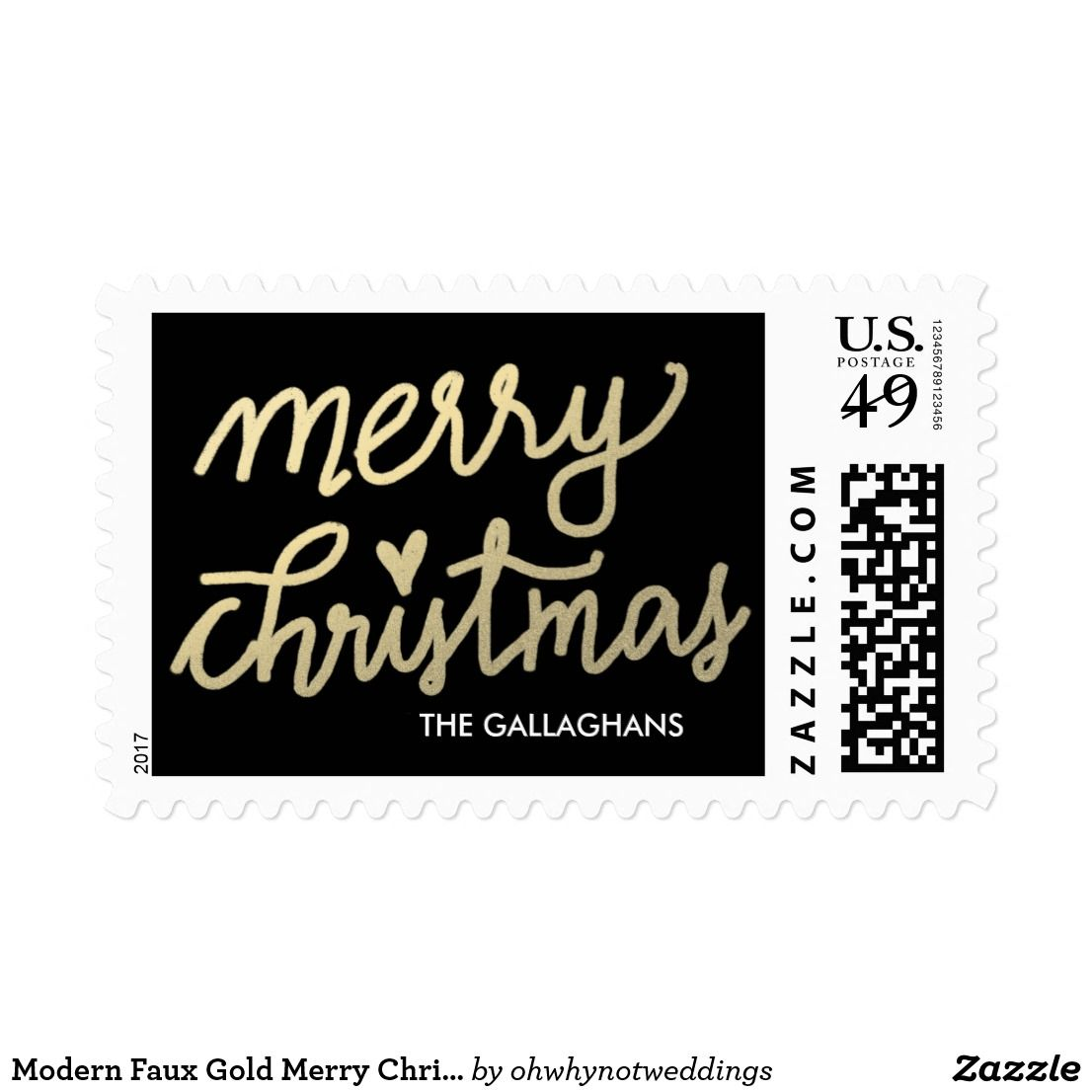 Modern Faux Gold Merry Christmas Script Holiday Postage