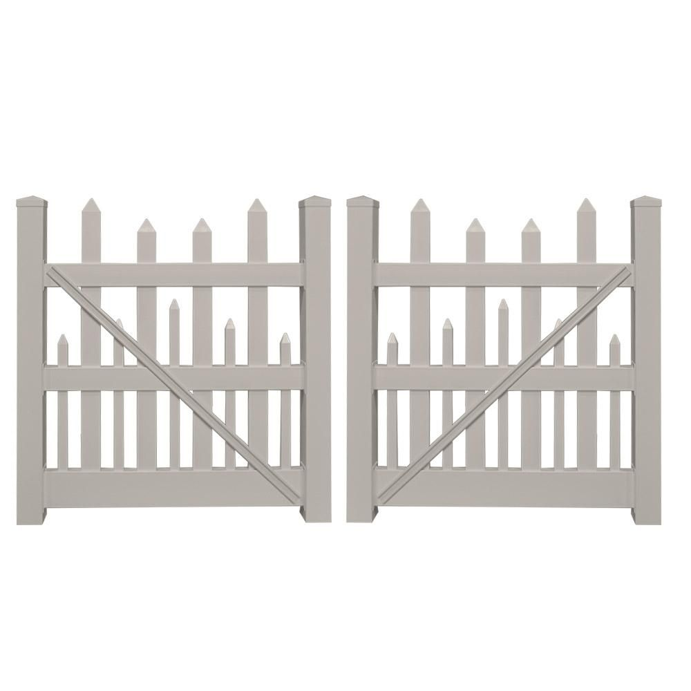 picket fence double gate. H Tan Vinyl Picket Fence Double Gate