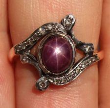 ANTIQUE 14K STAR RUBY CABOCHON DIAMOND ANTIQUE RING