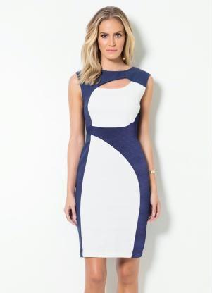 38790eed7 Vestido Tubinho Mink Bicolor (Azul e Off White) | office chic ...