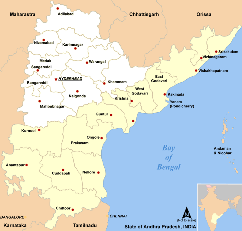Detail map of Telangana (inland) and Andhra Pradesh (on the ... on telangana seemandhra and, telangana districts list, telangana state map, state regions map, malabar coast india map, ap map,