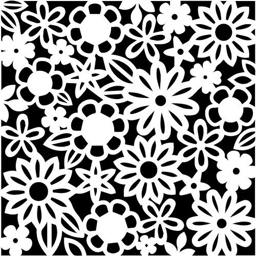 Lace stencil. Floral silhouette scan n