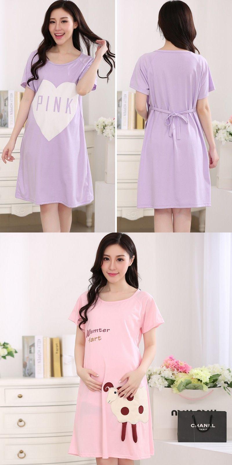 2016 Summer Cute Nursing Sleepwear Womens Maternity Clothes Pajamas ...