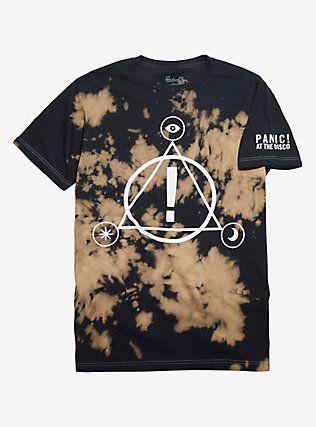 c14352c8 Panic! At The Disco Symbols Logo Bleach Wash T-Shirt, BLACK   Hair ...