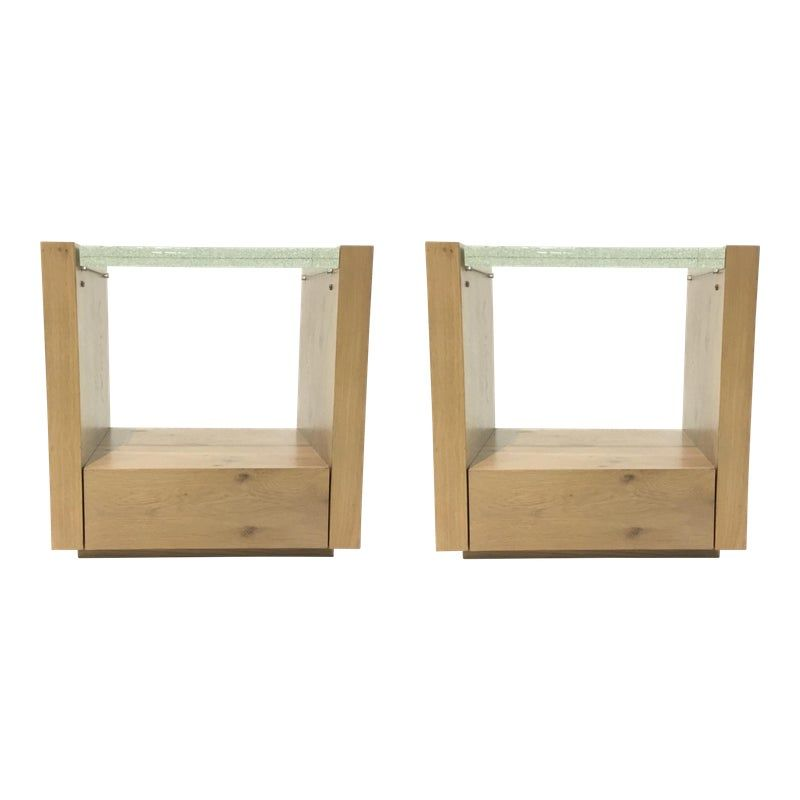 Modern Caracole Thick Bubble Glass And Wood Light Up Nightstands