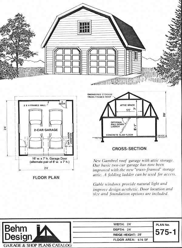 garage plan # 575-1 from 84 lumber. for garage/workshop with