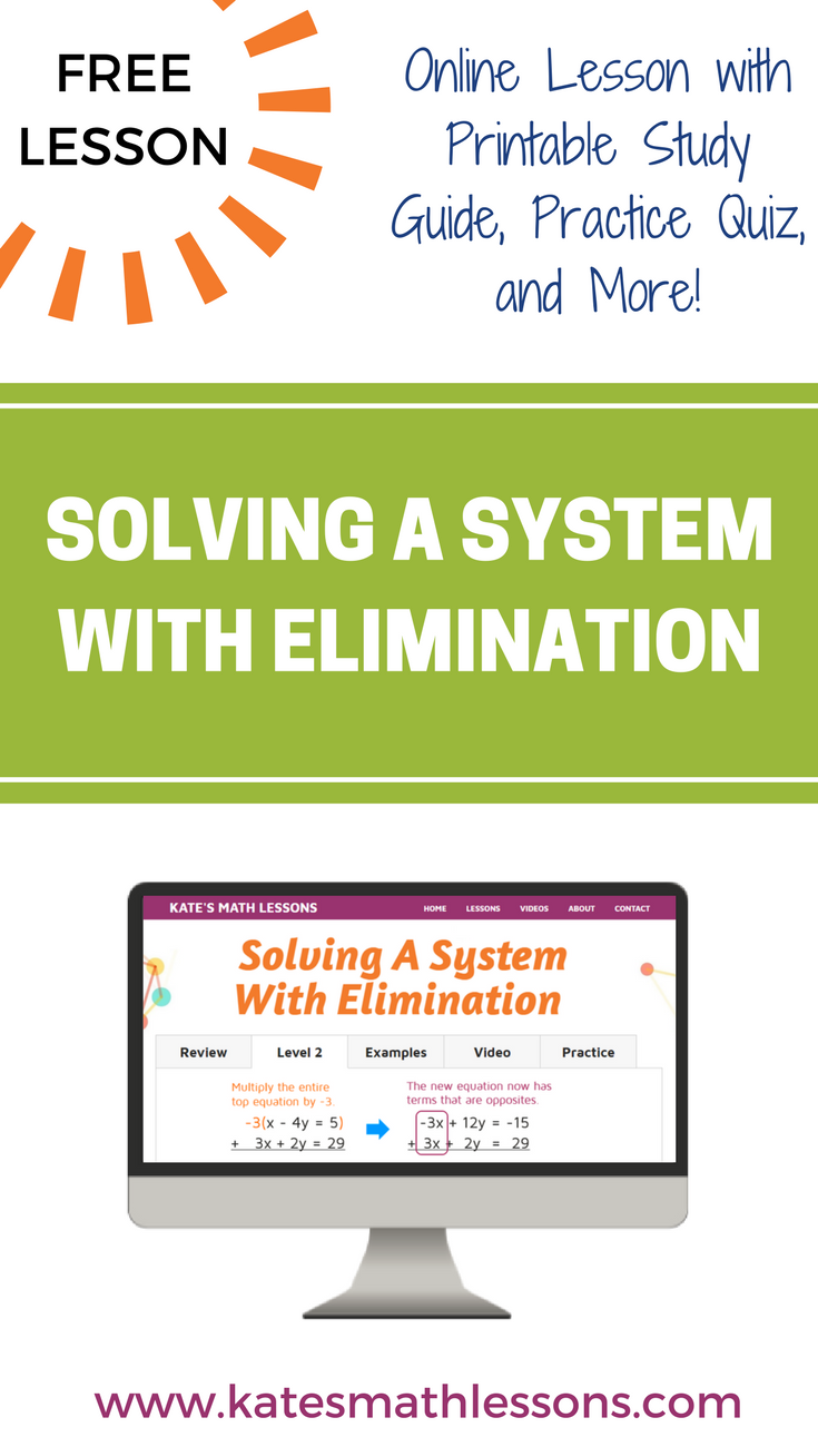 Solving a System of Equations with Elimination | Algebra, Equation ...