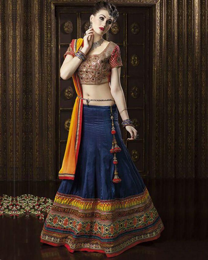 Chiffon Semi Stitched Lehenga Choli Blue and Red   Bridal