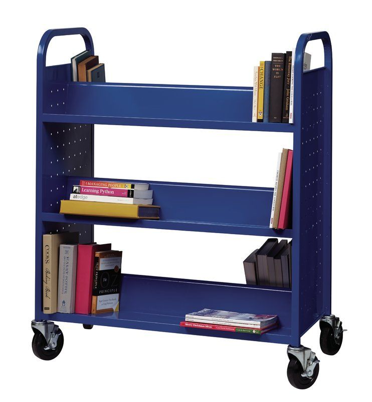 Metal Double Sided Sloped Shelf Book Cart дом