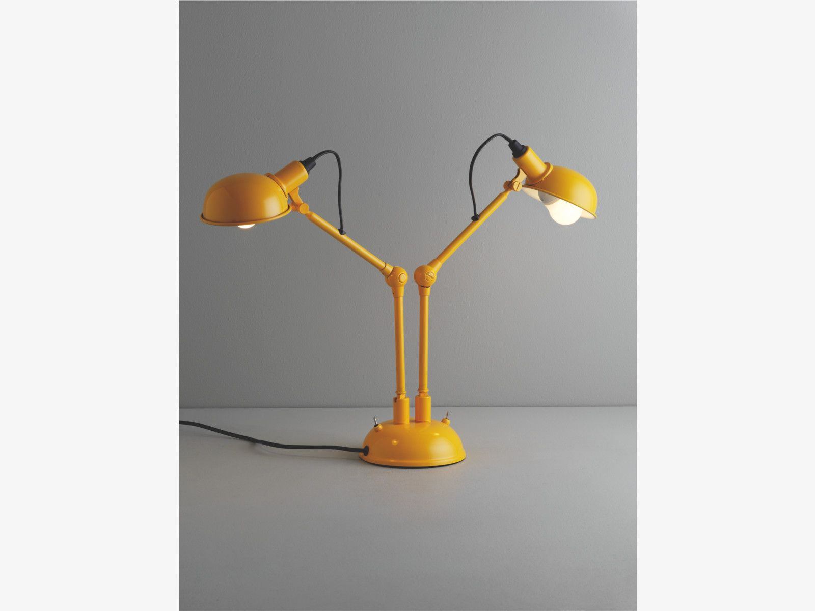 TOMMY YELLOW Metal Yellow Twin Head Desk Lamp