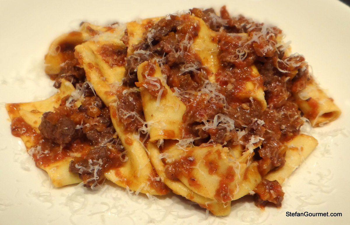 It is hunting season, which means that game like wild boar and venison are on the menu. A classic recipe from Tuscany ispappardelle al ragù di cinghiale, fresh wide ribbon pasta with a sauce of wi…