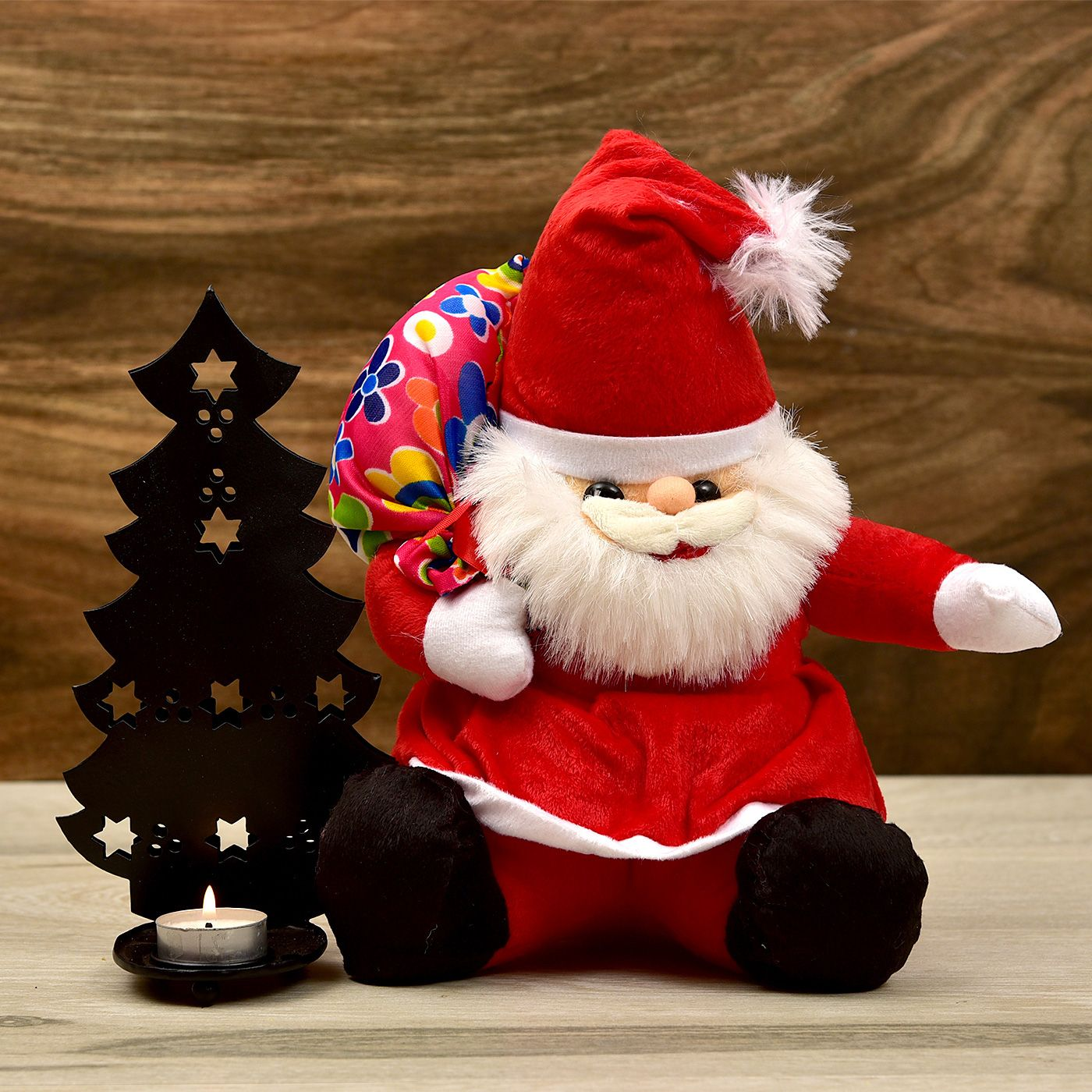 Cute Santa Teddy With Christmas Tree T Light Holder Gift Send Christmas Gifts Online L11076605 Igp Com Online Christmas Gifts Buy Christmas Gifts T Lights