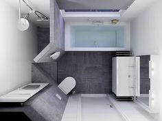 Modern badkamer ontwerp met grijs wit betegeling en inloopdouche ...
