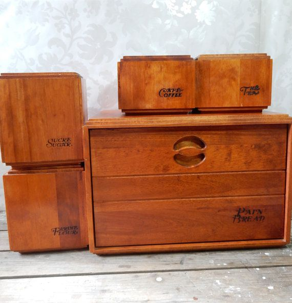 Wood Bread Box And Canister Set Barbomaid By Baribocraft 1960 S Flour Sugar Coffee And Tea Maple Boxes Canister Sets Canisters Bread Boxes