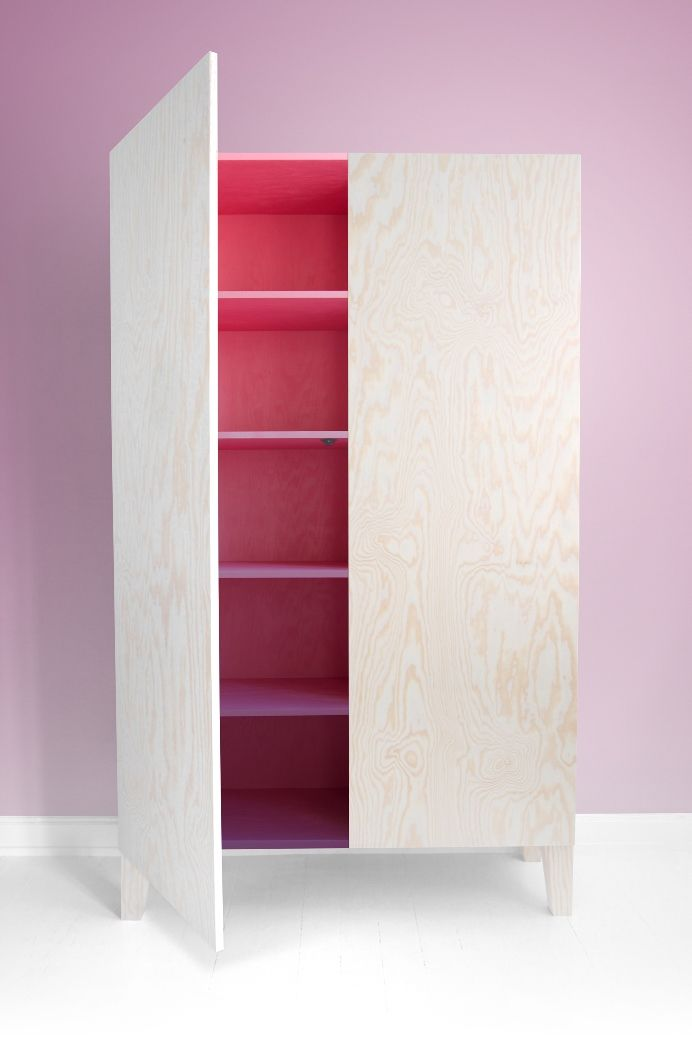 Love the inside painted in different shades -  Pine plywood Cabinet from HOW ARE YOU