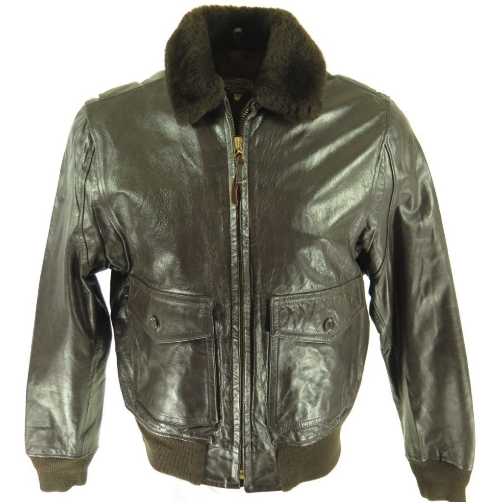 Vintage 80s G 1 Leather Bomber Flight Jacket 44 Large Deadstock San Diego The Clothing Vault Leather Jacket Style Leather Jacket Men Leather Flight Jacket [ 1024 x 1024 Pixel ]
