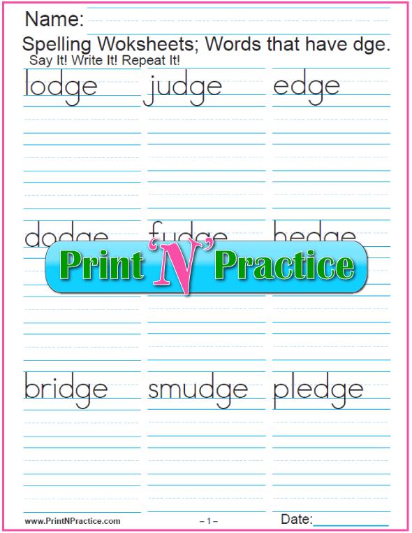 Dge Words Phonics Worksheet Practice Dge Phonogram