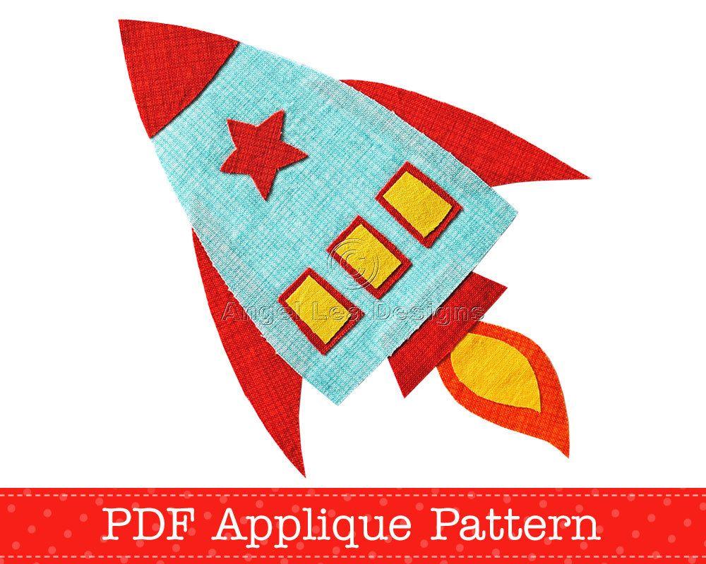 Rocket Applique Template PDF Pattern Spaceship Applique