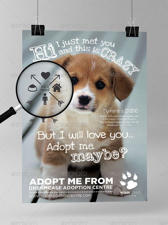 Template available here graphic river animals adopt me for Dog adoption flyer template