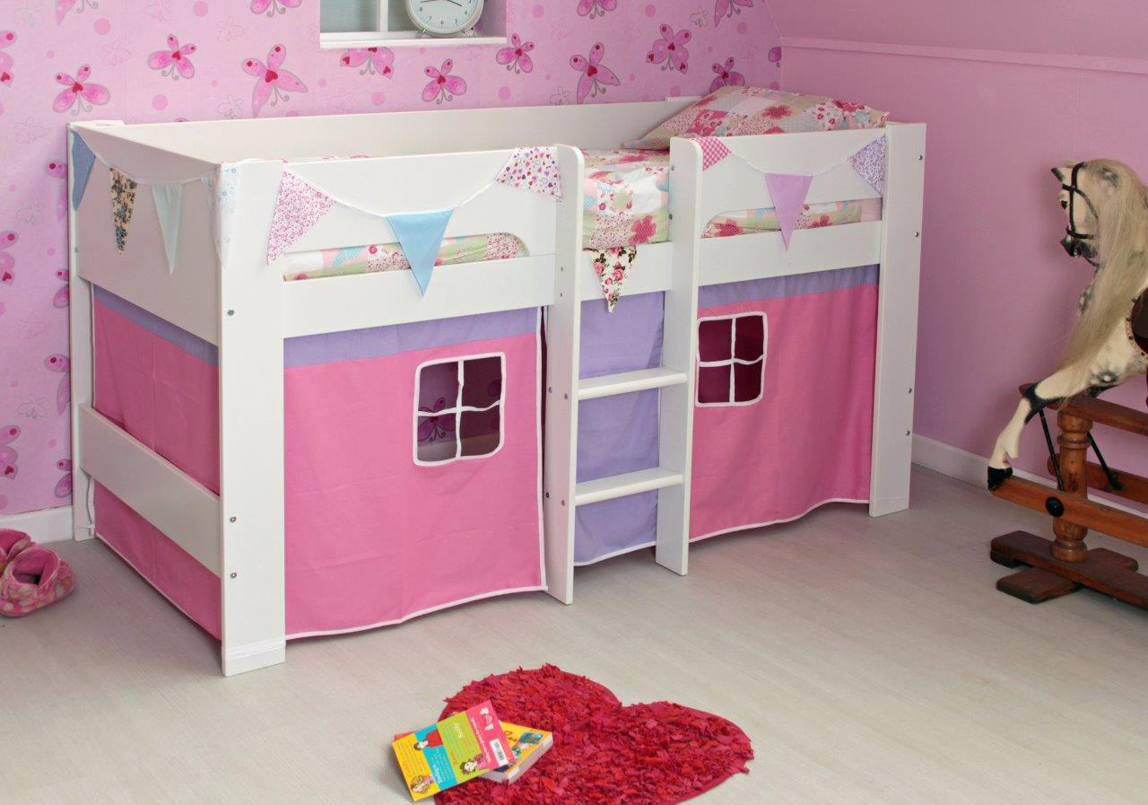 A pretty pink and lilac tent makes an exciting den under the Flexa Heidi Midsleeper bed & A pretty pink and lilac tent makes an exciting den under the Flexa ...
