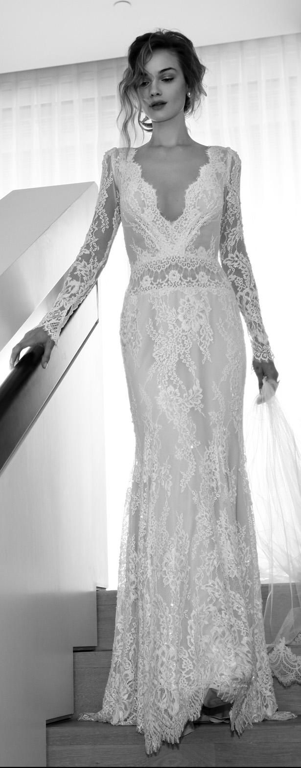 Hippie Wedding Dresses Cheap Plus Size 2015 Lihi Hod Sheath Modest Lace With Long Sleeves Deep V Neck Open Back Beach Gowns Custom