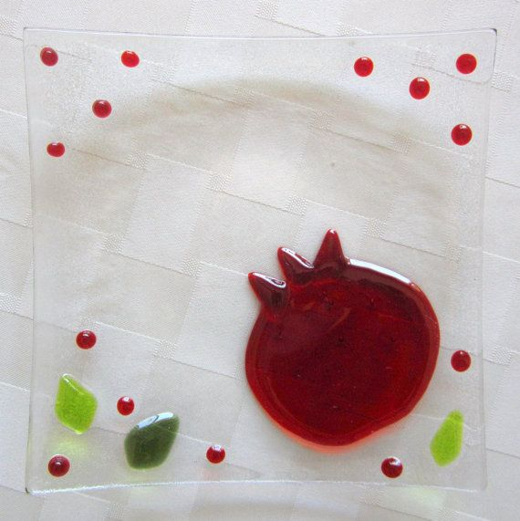 Pomegranate Glass Plate, Red Pomegranate Fused Glass Decor
