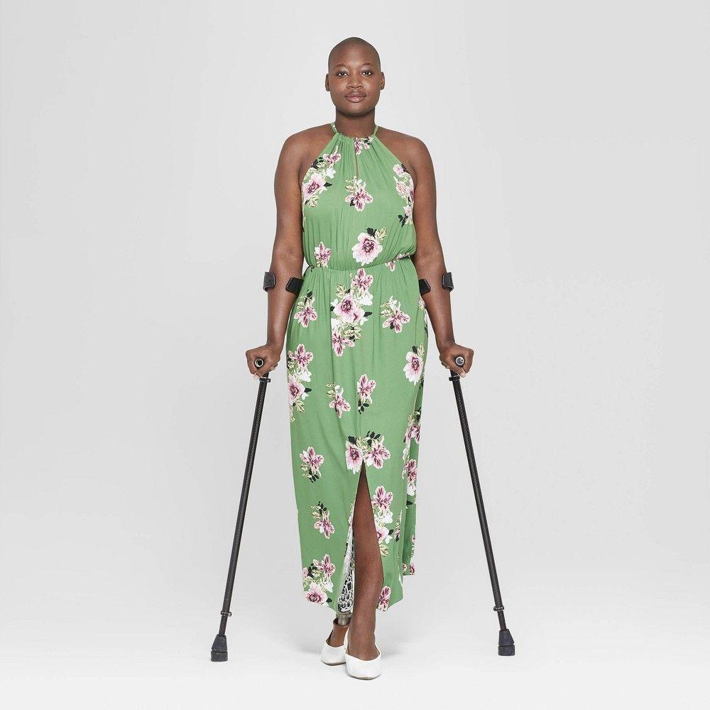5c4f6901f4 Women s Plus Size Floral Print Sleeveless Slit Maxi Dress - Ava   Viv Green  1X