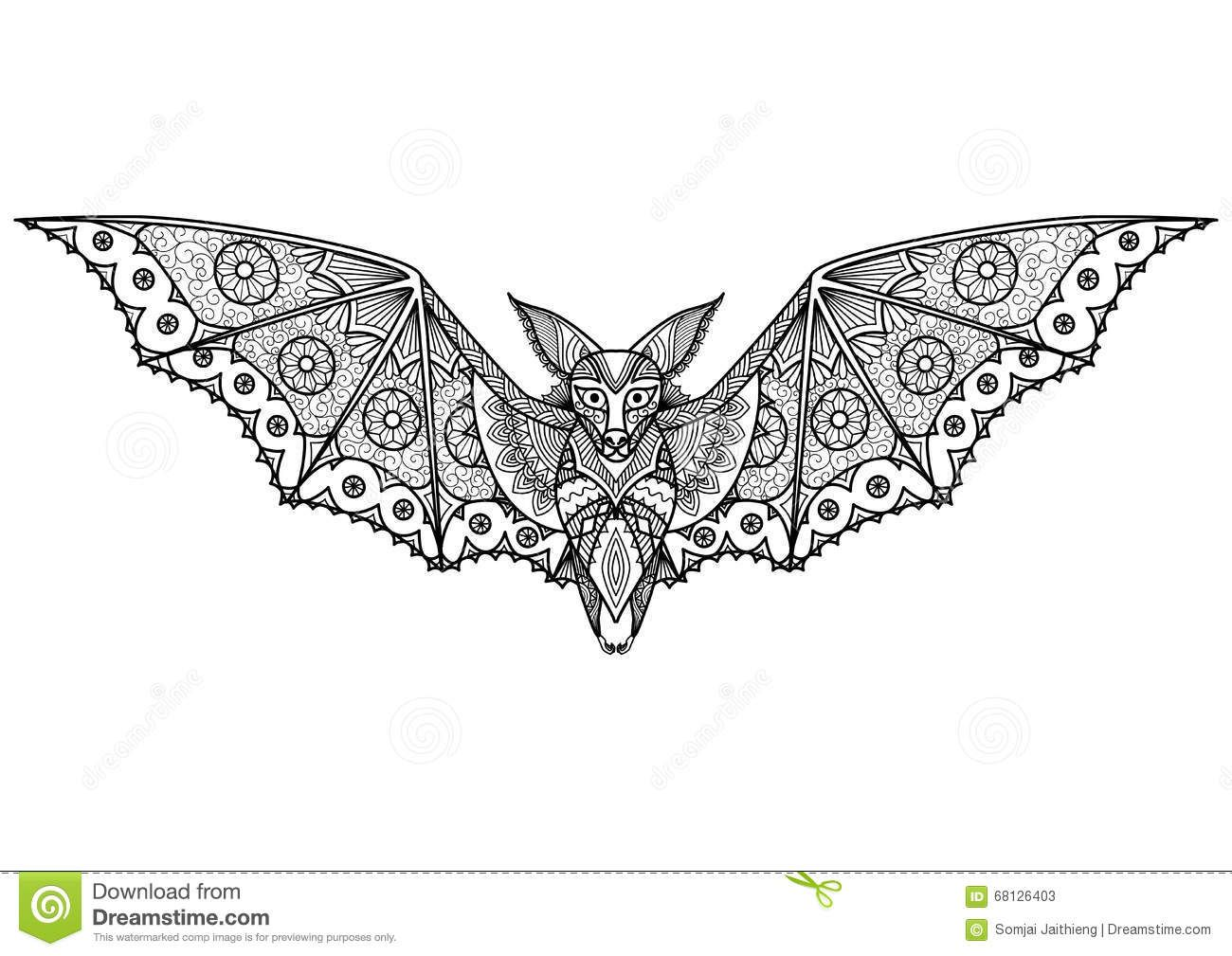 Bat zentangle illustration about coloring animal abstract adult anti drawn