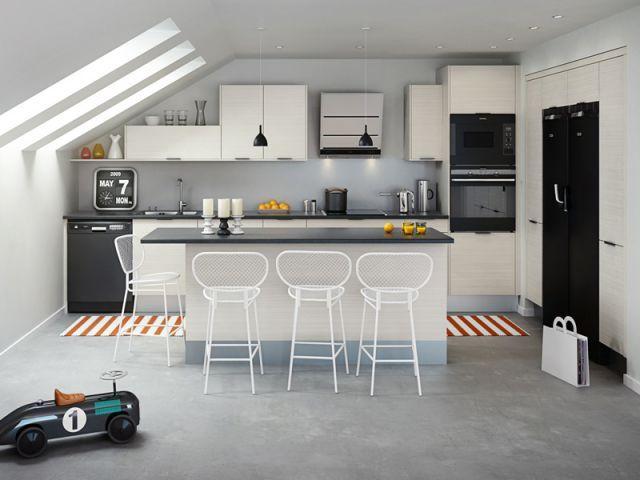 Douze cuisines avec îlot central, douze ambiances Industrial loft - plan ilot central cuisine