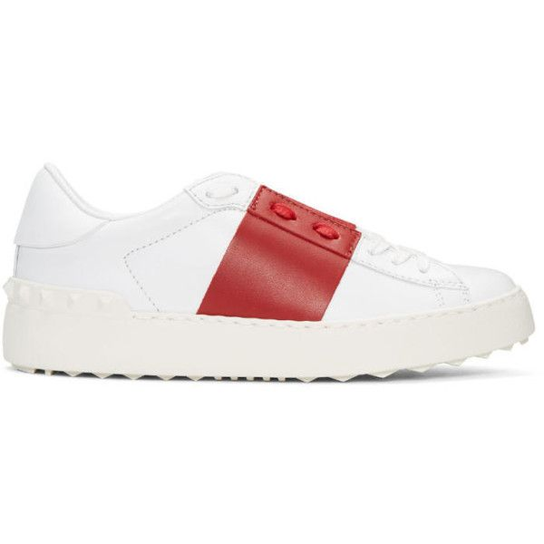 Valentino White and Red Open Sneakers ($585) ❤ liked on Polyvore featuring shoes, sneakers, white, lace up shoes, white trainers, leather low top sneakers, leather sneakers and white leather shoes