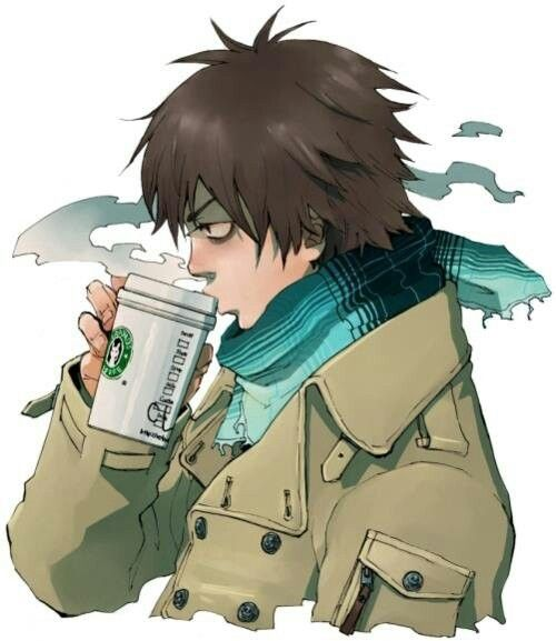 Some guy drinking a chai latte