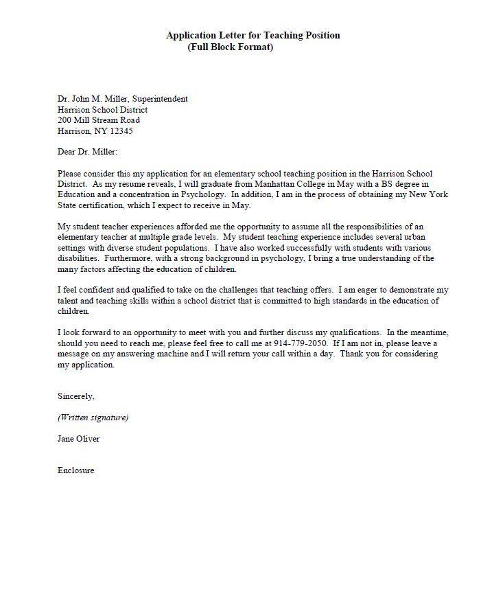sample cover letter teaching position