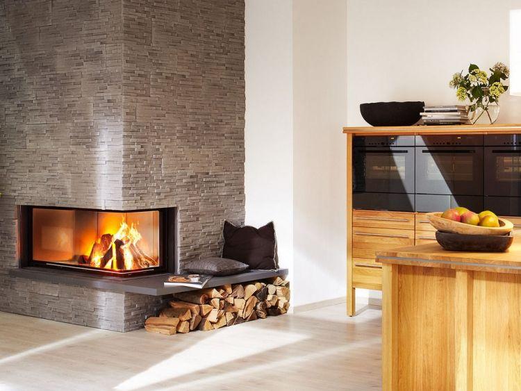 steinwand-wohnzimmer-Kamin-glas-ecke-grau-FIRENZE-Klimex - wohnzimmer mit steinwand grau