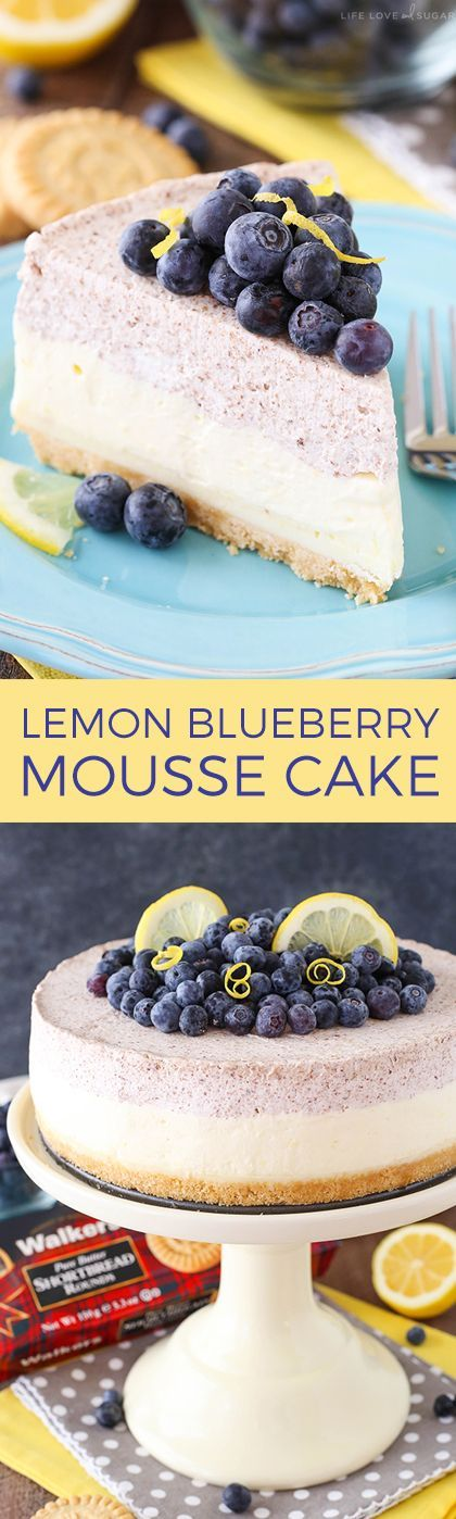 Lemon Blueberry Mousse Cake - This cake is almost entirely no bake and perfect for spring and summer! A layer of blueberry and lemon mousse on top of white chocolate ganache and a shortbread crust!