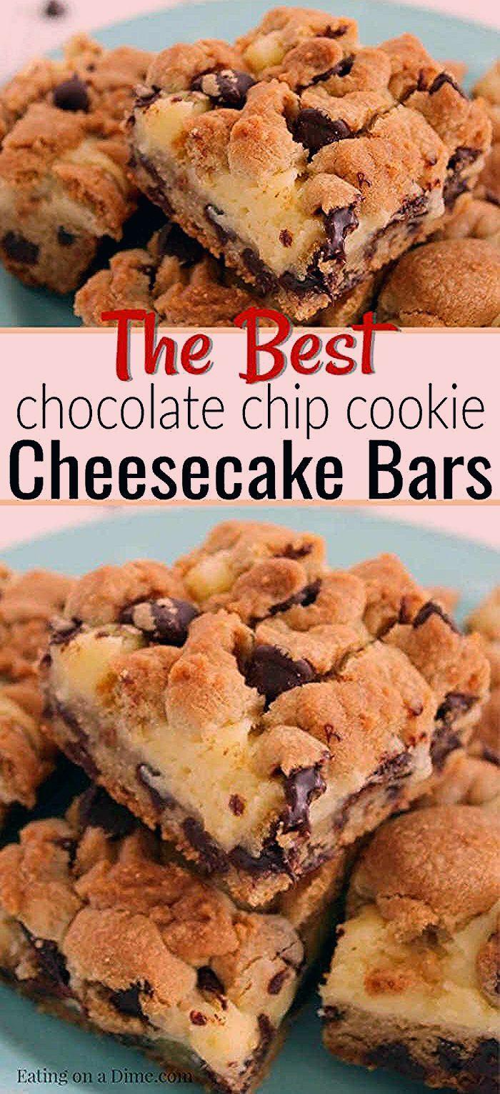 Photo of Chocolate Chip Cookie Cheesecake Bars – Easy Dessert Idea