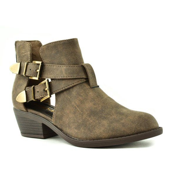 f3db4bb35fe863 Amazon.com  Autry Ankle Boots Low Heel Buckles Open Sides Casual Women Boot