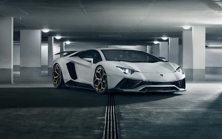 Download wallpapers 4k, Lamborghini Aventador S, Novitec Torado, 2018, supercar, tuning, new white Aventador, Italian sports cars, underground parking, Lamborghini #lamborghiniaventador