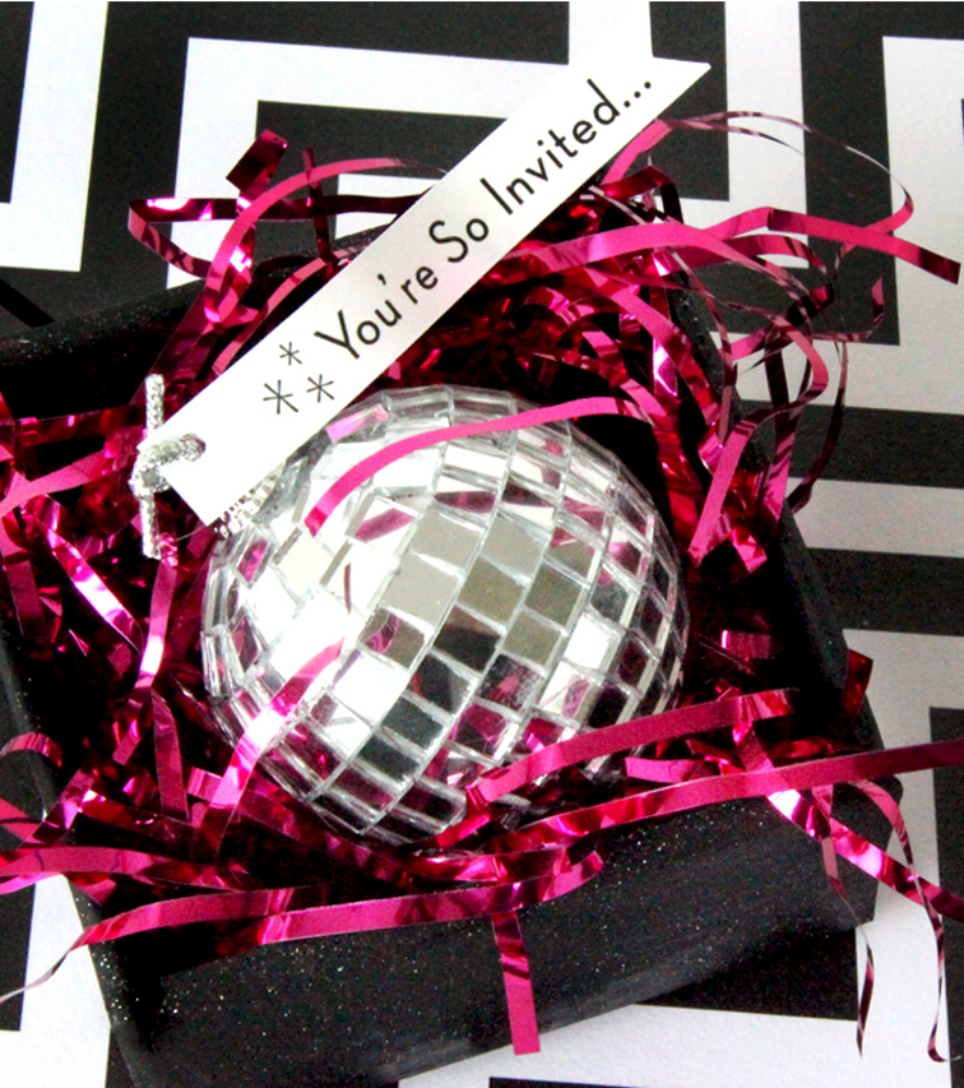 Snap up your disco ball ornaments after Christmas when they are 50-75% off retail price and make 3D New Years Eve party invitations! - Everyday Dishes & DIY