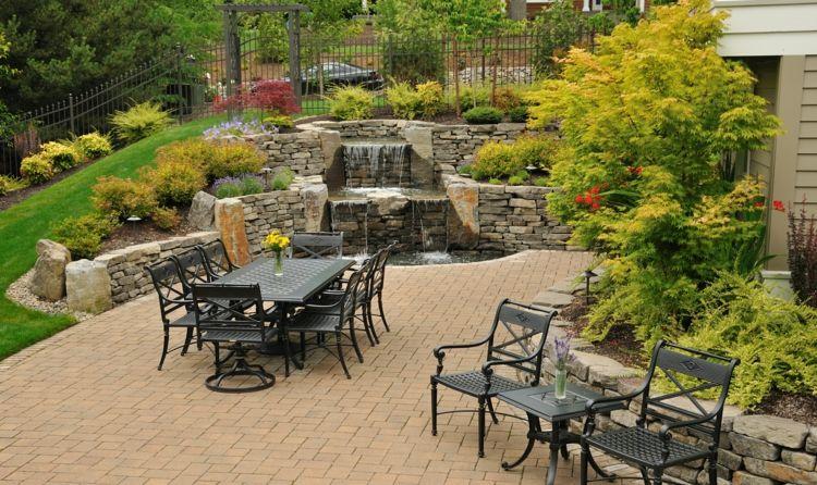 Wasserspiel im Garten mit Brunnen, Bach oder Wasserfall - wasserfall garten wand